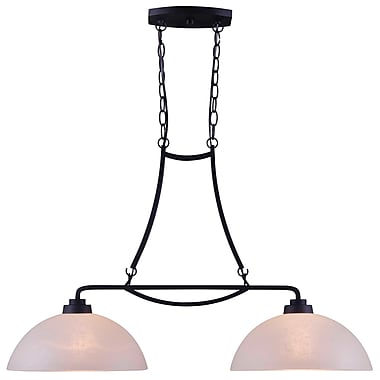Kenroy Home Dynasty 13in. x 33in. 2 Light Island Light W/Amber Linen Shades, Burnished Bronze