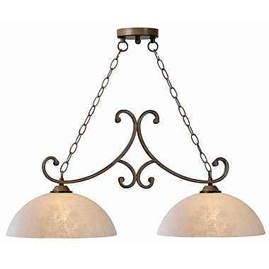 Kenroy Home Terrain 14in. x 33in. 2 Light Island Light W/Amber Dust Glass Shades, Aruba Teak