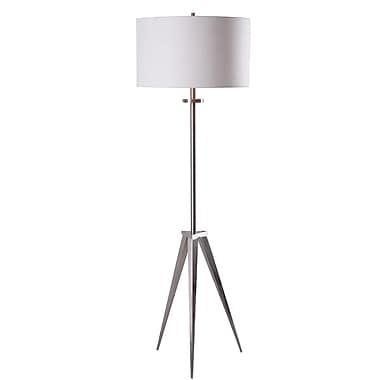 Kenroy Home 150 W 1 Light Foster Floor Lamp, Brushed Steel