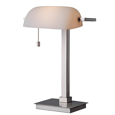 Kenroy Home 60 W 1 Light Wall Street Desk Lamp, Brushed Steel