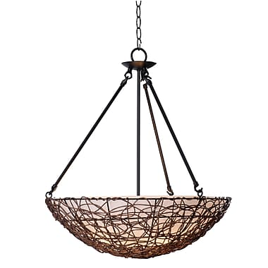 Kenroy Home Thicket 25in. x 21in. 3 Light Pendant W/Cream Scavo Shades, Rattan