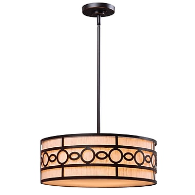 Kenroy Home Vista 7in. x 18in. 3 Light Pendant W/Cream Fabric Shades, Oil Rubbed Bronze