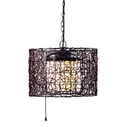 "Kenroy Home Tanglewood 13"" x 16"" 1 Light Outdoor Pendant W/White Glass Inner Shades, Black"
