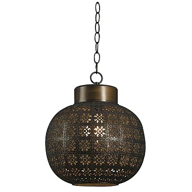 Kenroy Home 16in. x 13in. x 13in. 1 Light Mini Pendant, Aged Bronze