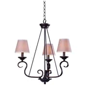 "Kenroy Home Basket 14"" x 9.5"" x 23"" 3 Light Chandelier W/Tan Linen Fabric Shades, Oil Rubbed Bronze"