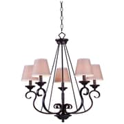 "Kenroy Home Basket 26"" x 23"" 5 Light Chandelier W/Tan Linen Fabric Shades, Oil Rubbed Bronze"