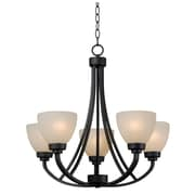 "Kenroy Home Dynasty 23"" x 24"" 5 Light Chandelier W/Amber Linen Shades, Burnished Bronze"