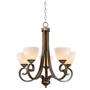"Kenroy Home Terrain 24"" x 24"" 5 Light Chandelier W/Cream Scavo Shades, Aruba Teak"