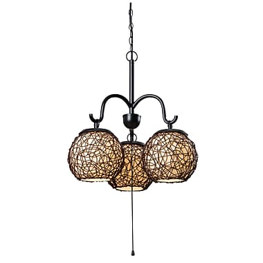 Kenroy Home Castillo Outdoor Incandescent 100 W Castillo 3 Light Chandelier W/Cream Shade, Bronze