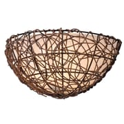 "Kenroy Home 7"" x 15"" Thicket 1 Light Wall Sconce With Cream Scavo Glass Shade, Rattan"