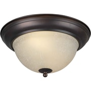 "Aurora® 6"" x 13 1/4"" 18 W 2 Light Flush Mount W/Umber Linen Glass Shade, Antique Bronze"