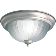 "Aurora® 6"" x 11 1/4"" 100 W 1 Light Flush Mount W/Fluted Satin Etched Glass Shade, Brushed Nickel"