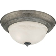 "Aurora® 6"" x 14"" 75 W 2 Light Flush Mount W/Marble Glass Shade, River Rock"