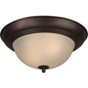 "Aurora® 6"" x 14"" 75 W 2 Light Flush Mount W/Umber Linen Glass Shade, Antique Bronze"