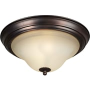 "Aurora® 6"" x 13 1/4"" 60 W 1 Light Flush Mount W/Umber Glass Shade, Antique Bronze"