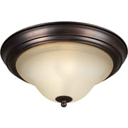 "Aurora® 7 1/4"" x 15 1/4"" 60 W 3 Light Flush Mount W/Umber Glass Shade, Antique Bronze"