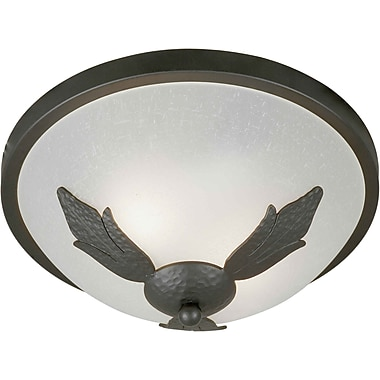 Aurora® 5 1/2in. x 13in. 75 W 2 Light Flush Mount W/White Linen Glass Shade, Natural Iron