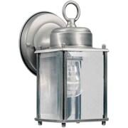 "Aurora® 8"" x 4 1/2"" 60 W 1 Light Outdoor Lantern W/Clear Beveled Glass Shade, Olde Nickel"