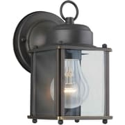 "Aurora® 8"" x 4 1/2"" 60 W 1 Light Outdoor Lantern W/Clear Beveled Glass Shade, Royal Bronze"