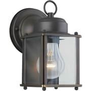 "Aurora® 8"" x 4 1/2"" 60 W 1 Light Outdoor Lantern W/Clear Beveled Glass Shade, Royal Bronze"