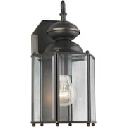 "Aurora® 13"" x 7"" 1 Light Outdoor Lantern W/Clear Beveled Multi-Sided Glass Shade, Royal Bronze"