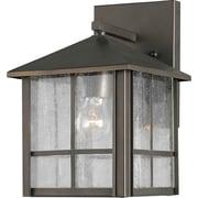 "Aurora® 9 1/4"" x 7"" 100 W 1 Light Outdoor Lantern W/Clear Seeded Glass Shade, Royal Bronze"