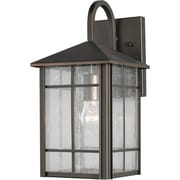 "Aurora® 14 1/2"" x 7"" 100 W 1 Light Outdoor Lantern W/Clear Seeded Glass Shade, Royal Bronze"