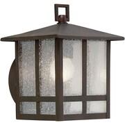"""Aurora® 8 1/4"""" x 6 1/2"""" 100 W 1 Light Outdoor Lantern W/Clear Seeded Glass Shade, Antique Bronze"""
