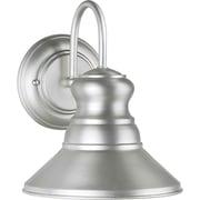 "Aurora® 9 1/2"" x 7 3/4"" 100 W 1 Light Outdoor Lantern W/Tapered Shade, Brushed Nickel"
