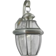 "Aurora® 14"" x 8"" 100 W 1 Light Outdoor Lantern W/Clear Beveled Glass Shade, Antique Pewter"