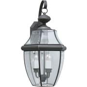 "Aurora® 23"" x 12"" 60 W 3 Light Outdoor Lantern W/Clear Beveled Glass Shade, Royal Bronze"