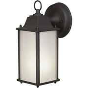 "Aurora® 10 1/2"" x 4 1/2"" 13 W1 Light Outdoor Lantern W/Satin White Glass Shade, Black"