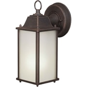 "Aurora® 10 1/2"" x 4 1/2"" 13 W1 Light Outdoor Lantern W/Satin White Glass Shade, Painted Rust"