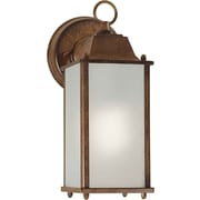 "Aurora® 10 1/2"" x 4 1/2"" 13 W 1 Light Outdoor Lantern W/Satin White Glass Shade, Rustic Sienna"