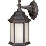 "Aurora® 12"" x 6 1/2"" 18 W1 Light Outdoor Lantern W/Frosted Seeded Glass Shade, Painted Rust"