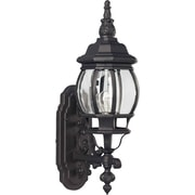 "Aurora® 22"" x 6 1/2"" 100 W1 Light Outdoor Lantern W/Clear Beveled Glass Shade, Black"