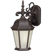 """Aurora® 18 1/4"""" x 9 1/2"""" 26 W1 Light Outdoor Lantern W/Frosted Seeded Glass Shade, Painted Rust"""