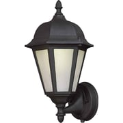 "Aurora® 13 1/2"" x 8"" 18 W1 Light Outdoor Lantern W/Frosted Seeded Glass Shade, Black"
