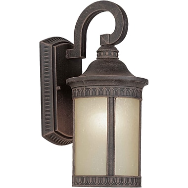 Aurora® 1 Light Outdoor Lantern W/Umber Seeded Glass Shade, Painted Rust
