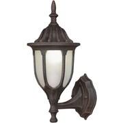 "Aurora® 15"" x 6 1/2"" 13 W1 Light Outdoor Lantern W/Satin White Glass Shade, Painted Rust"