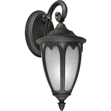 Aurora® 1 Light Outdoor Lantern W/White Linen Glass Shade, Black
