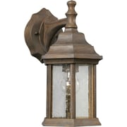 "Aurora® 12"" x 6 1/2"" 100 W 1 Light Outdoor Lantern W/Clear Seeded Glass Shade, Desert Stone"