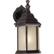 "Aurora® 12"" x 6 1/2"" 100 W 1 Light Outdoor Lantern W/Umber Linen Glass Shade, Antique Bronze"