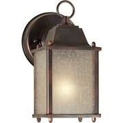"Aurora® 8 3/4"" x 4 1/2"" 60 W 1 Light Outdoor Lantern W/Umber Linen Glass Shade, Antique Bronze"