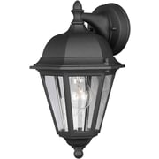 "Aurora® 14"" x 8"" 100 W 1 Light Outdoor Lantern W/Clear Glass Shade, Black"