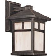 "Aurora® 10 1/2"" x 6"" 100 W 1 Light Outdoor Lantern W/Honey Glass Shade, Painted Rust"