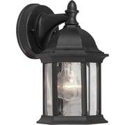 "Aurora® 9 1/2"" x 5"" 100 W 1 Light Outdoor Lantern W/Clear Beveled Glass Shade, Black"