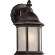 "Aurora® 9 1/2"" x 5"" 75 W 1 Light Outdoor Lantern W/Umber Linen Glass Shade, Antique Bronze"