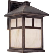 "Aurora® 16 1/4"" x 9 1/2"" 100 W 1 Light Outdoor Lantern W/Honey Glass Shade, Painted Rust"