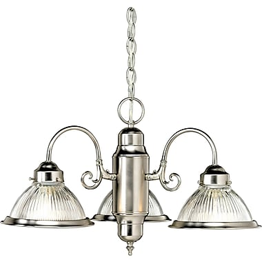 Aurora® 14in. x 21 1/2in. 100 W 3 Light Chandelier W/Ribbed Glass Shade, Brushed Nickel